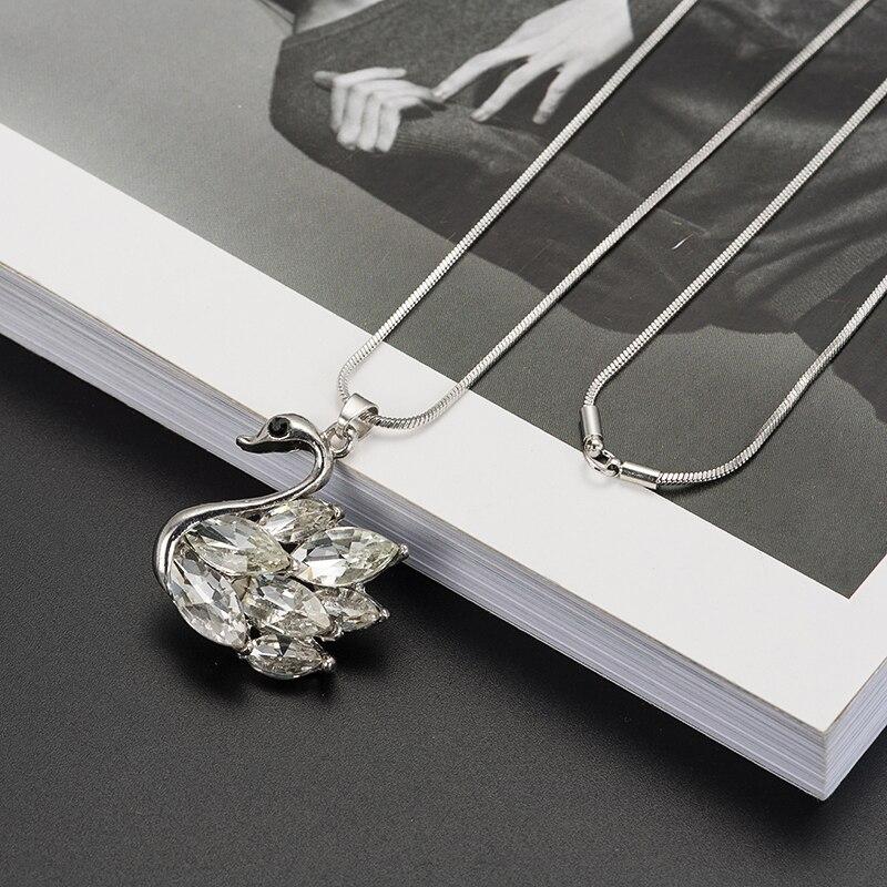 Zircon Swan kalung panjang, Rantai sweater, Mode rantai logam, - Perhiasan fashion - Foto 3