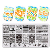 BeautyBigBang Nails Stamping Plate Set Geometric Egypt Cartoon Abstract Lines Nail Plates Template Art XL-060
