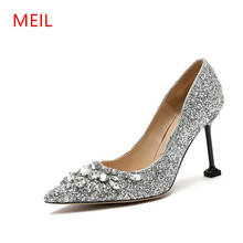 MEIL 2018 New Rhinestone High Heels Cinderella Shoes Woman Pumps Pointed toe Wedding Shoes woman 8 CM heels ladies shoes