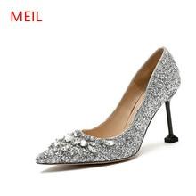 цена MEIL 2018 New Rhinestone High Heels Cinderella Shoes Woman Pumps Pointed toe Wedding Shoes woman 8 CM heels ladies shoes онлайн в 2017 году