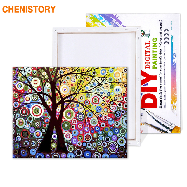 Painting By Numbers Abstract Bright Colours Trees