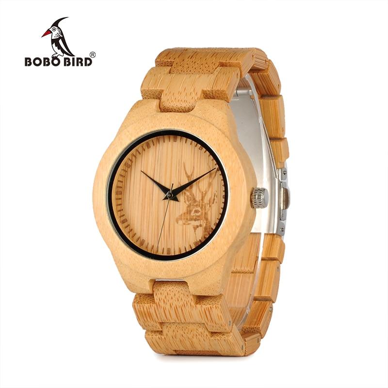Relogio Feminino BOBO BIRD Watch Women Top Brand Bamboo Deer Engraving Quartz Wristwatches Reloj Mujer Ladies Gift In Wooden Box