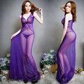 Elegantes Camisolas Longas Com G-String Thongs Roupa Vestido Nightclue Alcinhas Camisola Longa Noite Desgaste Do Partido Para As Mulheres