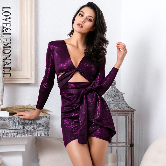 ff2cfba2a0 US $37.57 14% OFF|Love&Lemonade Sexy Purple Deep V Neck Cut Out Elastic  Reflective Bodycon Going Out Party Dress LM81565 1-in Dresses from Women's  ...