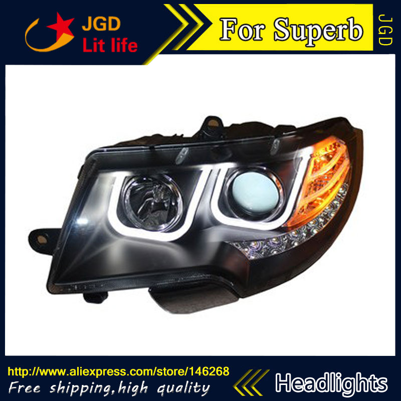 Free shipping ! Car styling LED HID Rio LED headlights Head Lamp case for Skoda Superb 2009-2013 Bi-Xenon Lens low beam