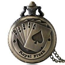 Рождественский подарок Винтаж в античном стиле, из бронзы и меди рояль покер карты держатель для карт часы Цепочки и ожерелья цепи Для мужчин Для женщин P80