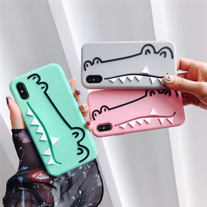 Cute Cartoon Crocodile With Card Pocket Case For iPhone 6 6S 7 8 Plus X XS XR MAX Soft Silicone Solid Color Pink Candy Back Capa in Fitted Cases from Cellphones Telecommunications
