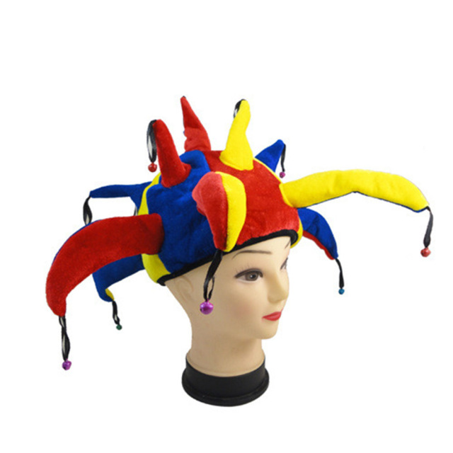 funny colorful halloween party clown hat with small bell carnival costume hats unisex cap props jl