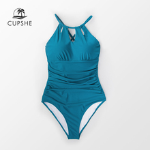 2f62ce6ee0 CUPSHE Peacock Blue Halter Lace-up Back One-Piece Swimsuit Women Solid  Monokini