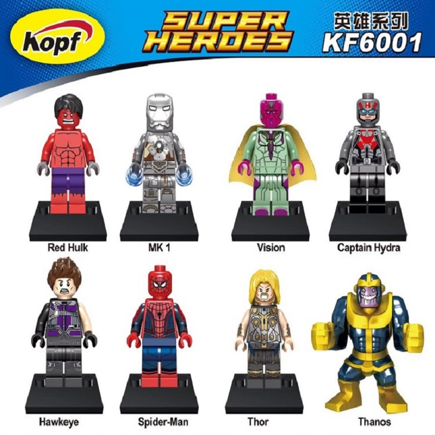 Super Heroes Movie Red Hulk MK 1 Thor Thanos Captain Hydra Hawkeye figures Model Building Blocks Toys Christmas Gift KF6001