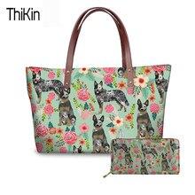 Thikin Casual Handbag Long Purse Australian Cattle Dog Printing Top Handle Bag For Las