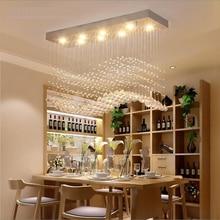 Modern crystal chandelier, rectangle, European style, LED, simple, creative, restaurant lamp, bar lamp