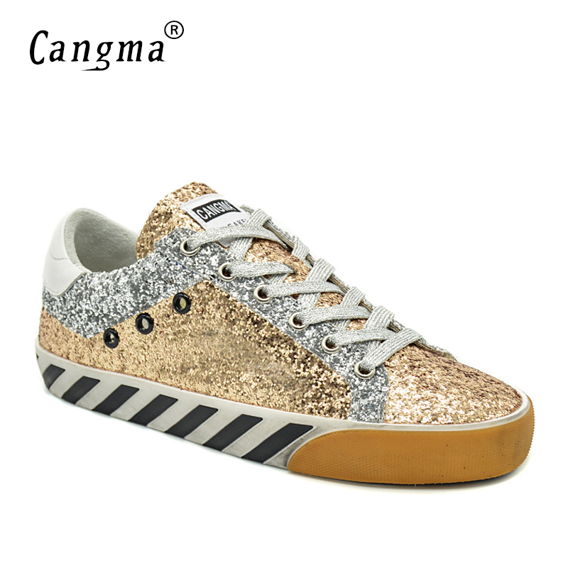 CANGMA Italian Original Sneakers Women Shoes Autumn Gold Handmade Sequined Leather Flats Vintage Shoes For Ladies Schoenen 34-48CANGMA Italian Original Sneakers Women Shoes Autumn Gold Handmade Sequined Leather Flats Vintage Shoes For Ladies Schoenen 34-48