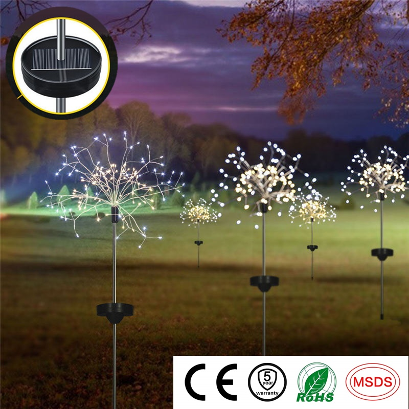 LED Solar Light Eight Function Modes Fireworks String Lights For Garden Decoration Bouquet Waterproof Christmas Wedding Party