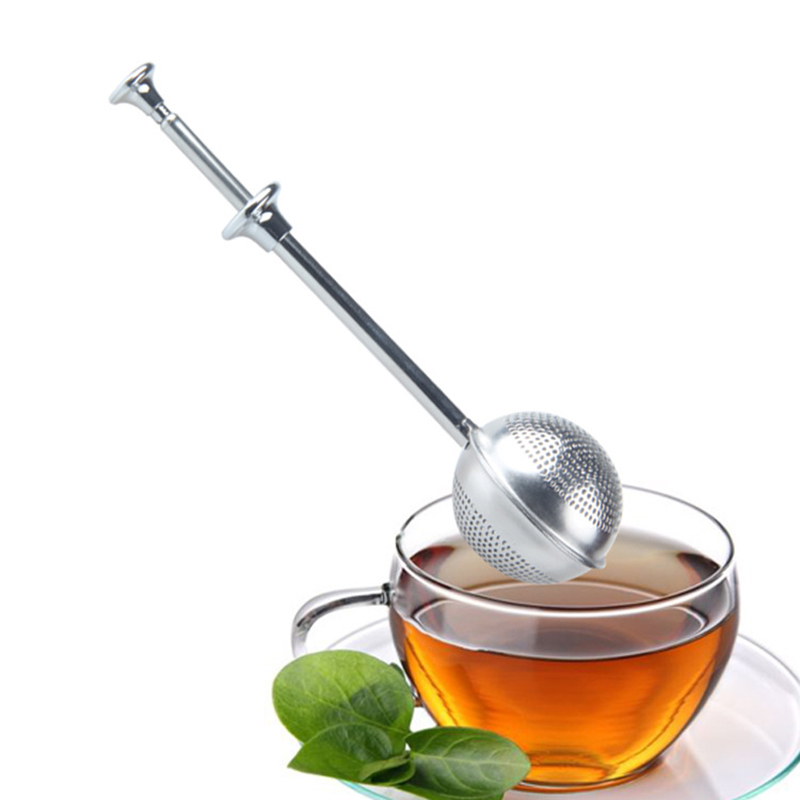 1 PCS Tea Infuser Stainless Steel Sphere Mesh Tea Strainer Telescopic Coffee Herb Spice Filter Diffuser Handle Red Gold Tea Ball