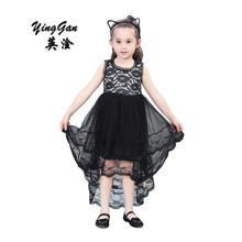 Girls Party Dress Kids 2017 Lining Lace Long Tail Black Festival Girl Dress Children Baby Wedding Dress Teenage Girls 2-8Years(China)