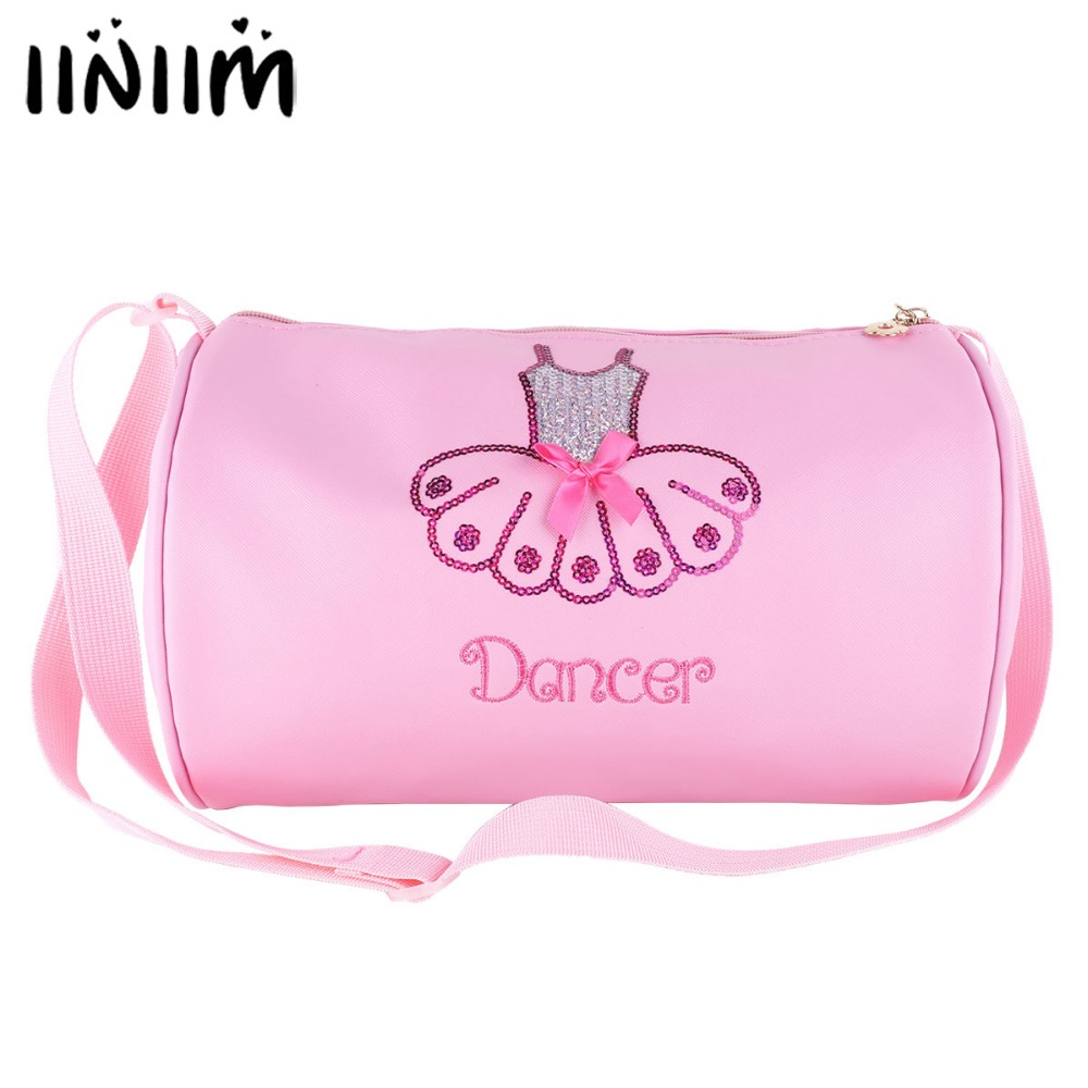 Kids Girls Adorable Ballet Dance Bag Shiny Sequins Embroidered Dress Dancing Duffle Bag Shoulder Professional Tutu Backpack