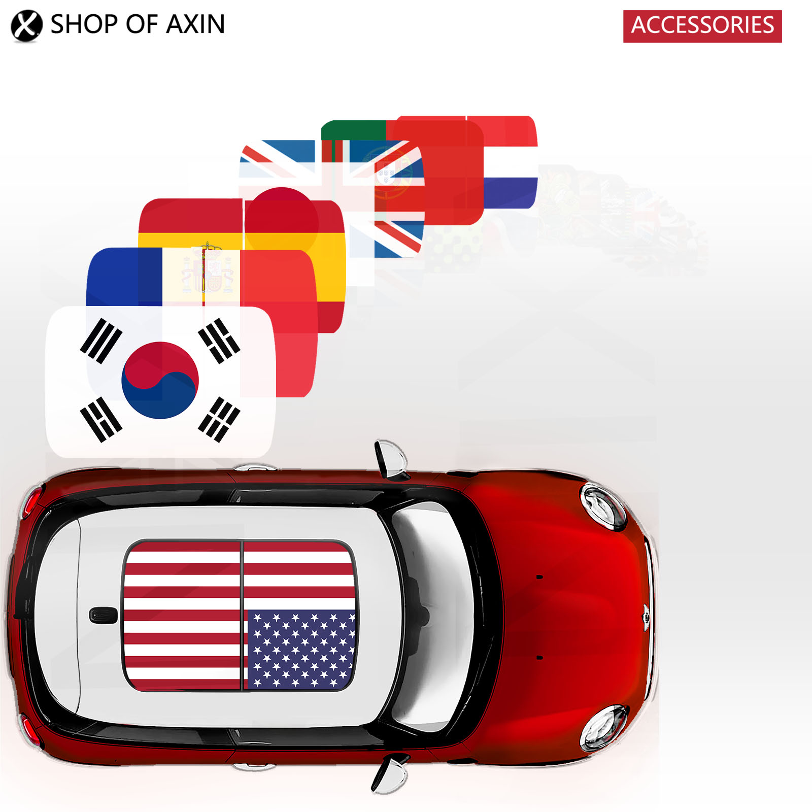 Flag Sunroof Moonroof Graphics stickers for MINI Cooper clubman countryman hardtop R50 R53 R55 R56 R60 R61 F54 F55 F56 F60 hood stripes car stickers decals car styling for mini cooper s countryman clubman paceman r56 r60 r61 f54 f55 f56 accessories