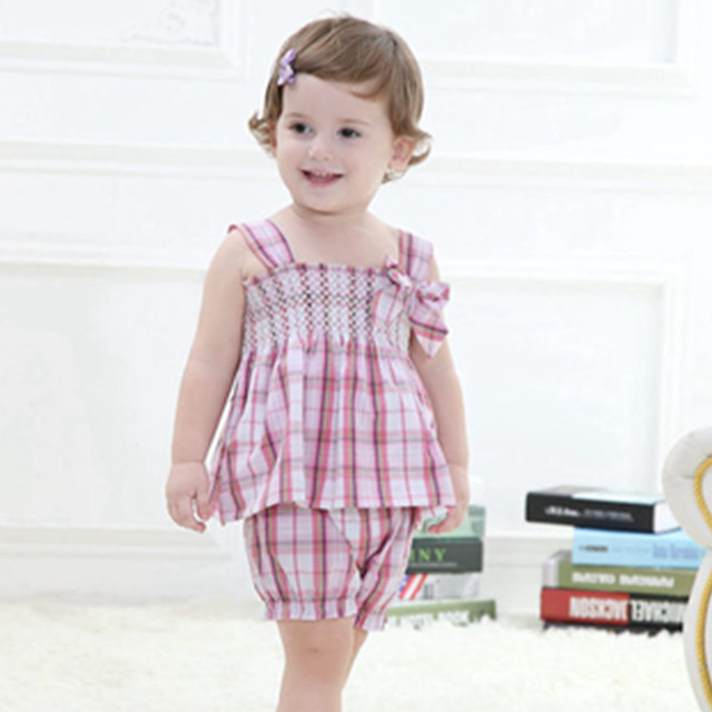 Summer Baby Girls Clothes,Brand Cotton Children's Clothing Plaid Sleeveless + Pants,Kids Casual Wear (6 Mths-3 Yrs)