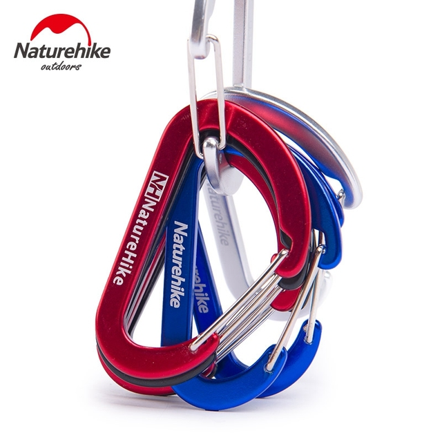 4 Pcs Naturehike Flat D Shape Camping Carabiner Aluminum Survival Camping Equipment EDC Paracord Buckles Hooks Key Chain 6.5cm