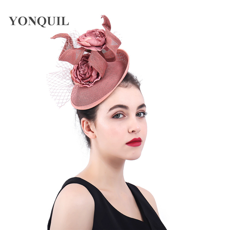 a12ec571 Dark peach Fascinators Hat veils Mesh Cocktail Tea party hat flower Royal  Ascot hair clips wedding headdress elegant headpieces