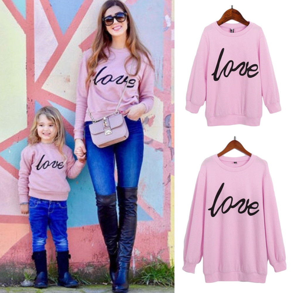 3 Colors Family Love Clothes Mother Women Girls Sweatshirt Tops Love Letter Print Long Sleeve Pullover Pink Warm Cotton Tops