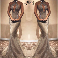 Gray Beaded Lace Mermaid Prom Dress Bust Hollow Backless Sleeveless Prom Evening Party Wear for Sexy Lady Graduation Dress 2019