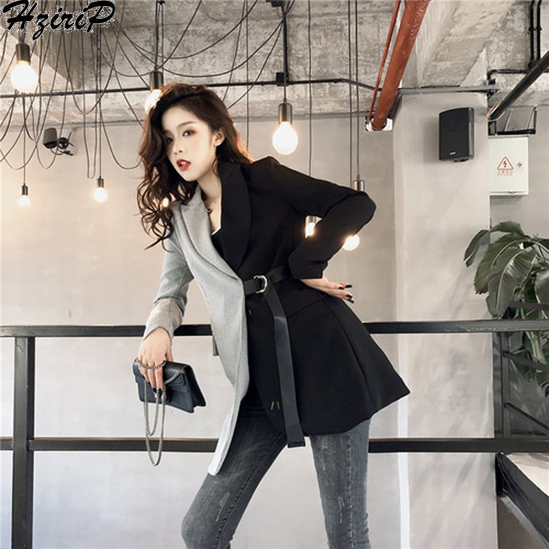 HziriP Personality Waist Belt Autumn Sashes Pocket Streetwear   Trench   Women 2018 Casual Patchwork Tops Female Coat Outwear