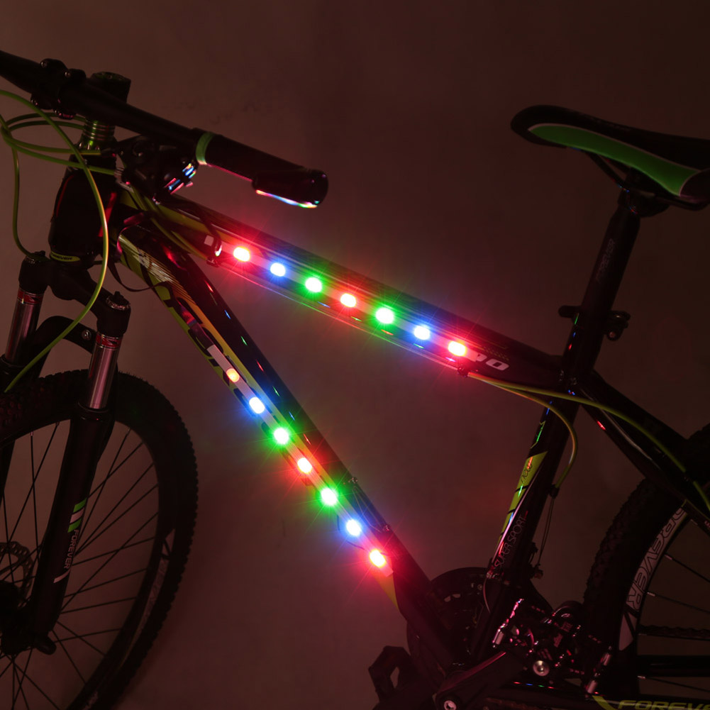 1pcs bicycle decorative led light bike night lights article safety this bicycle light has 14 led bulbs with 3 modes cycle flash slow strobe and constant on 6 nylon cable ties are included to fix the decorative lights aloadofball Image collections