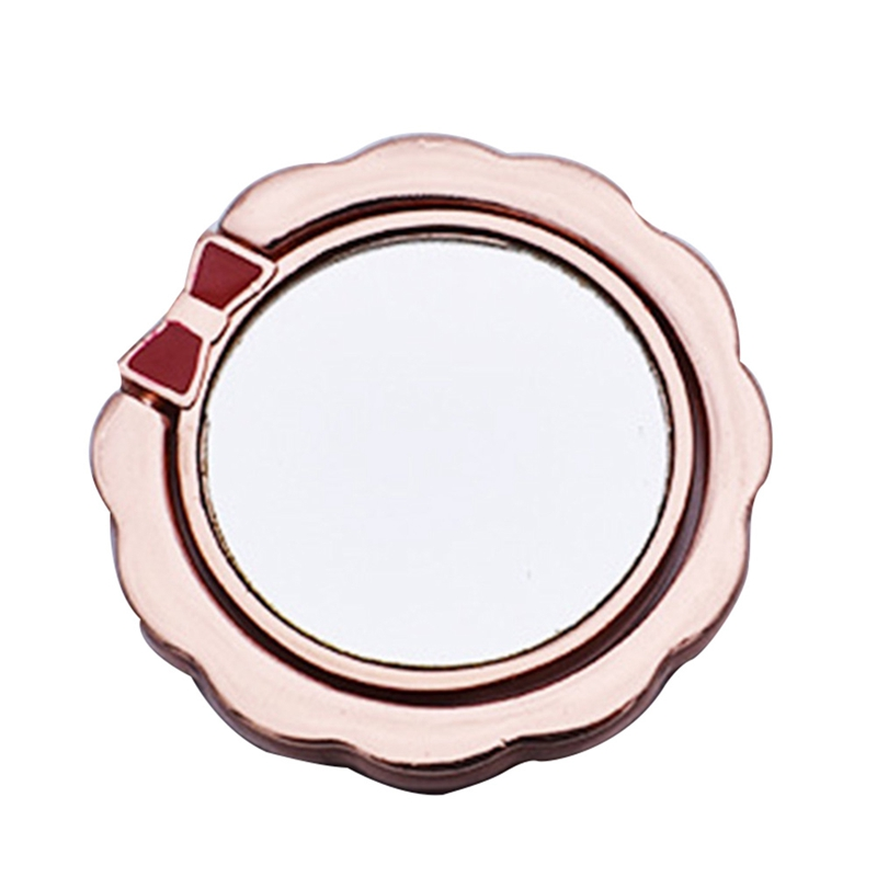 Metal Finger Ring with Mirror 360 Rotatable Smartphone Pad Stand Holder with Cute Bowknot Design