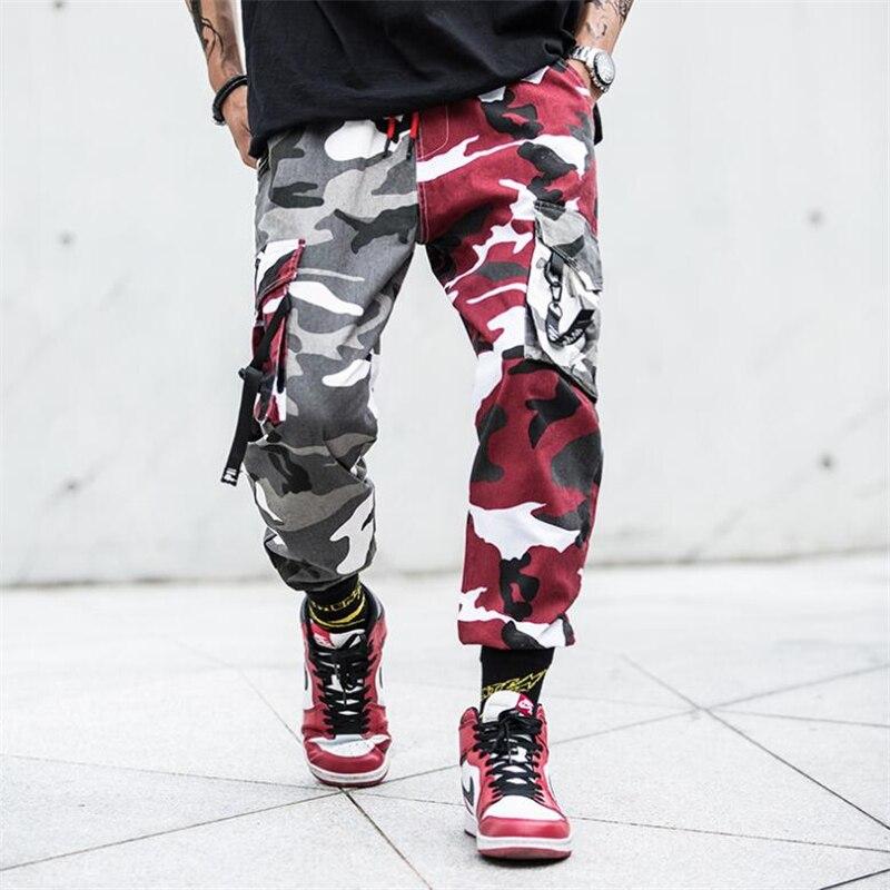 Hip Hop Trousers Multi-pocket Cotton Military Overalls Male Camouflage Splice Joggers Pants Men Camo Streetwear Mens Cargo Pants