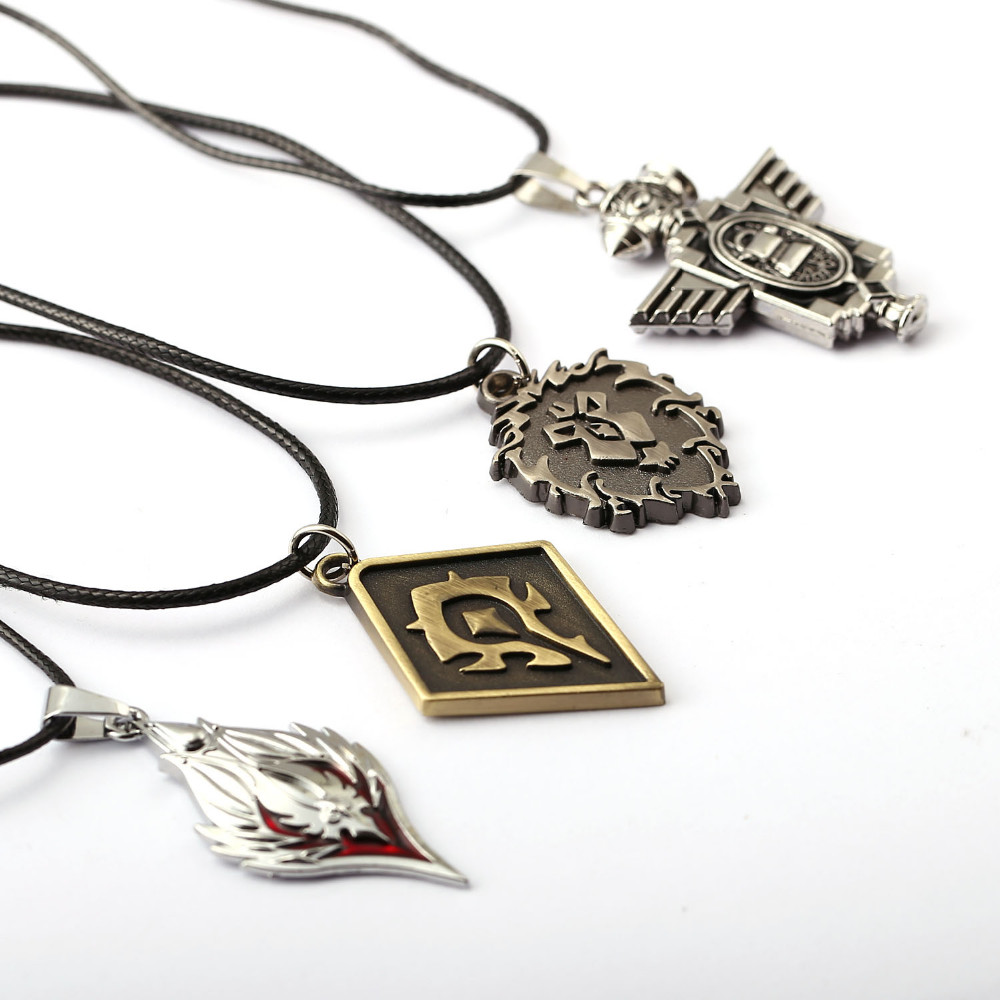HSIC 4 Styles Hot Game The Alliance Horde Pendant Necklace Classic Colar Statement Necklace For Men