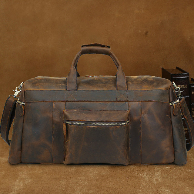 3bc72c594b6 Luxury Men s Vintage Business Crazy Horse Leather Travel Bag Large Duffle  Bag Luggage Brand Tote Overnight Travelling Bag Brown