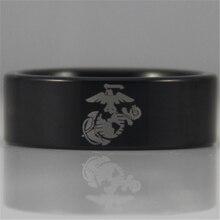 Envío gratis ee.uu. reino unido canadá rusia brasil ventas calientes 8 MM negro Pipe anillo ejército USMC diseño de hombre tungsteno Comfort Fit anillo