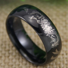 Free Shipping YGK JEWELRY Hot Sale 8MM Comfort Fit Tai Chi Kanji Dragon New Black Dome Tungsten Wedding Ring(China)