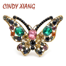 CINDY XIANG New Mix Color Rhinestone Butterfly Brooches for Women Vintage Elegant Insect Pins Coat Accessories Fashion Jewelry