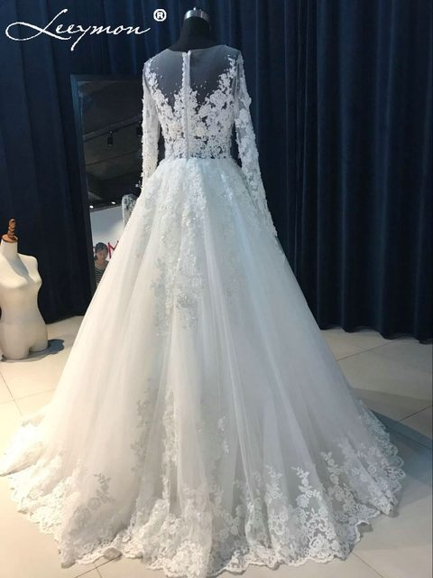 Online Shop Real Pictures Red Wedding Dress Full Sleeves Beading ...