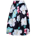 Charm Lady Casual Multi Flowers Print High Waist Pleated Midi Skirt High Waist Painting Skirt Free Shipping