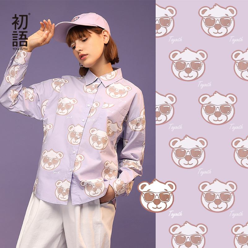 Toyouth Women Bear Printed Fashion Cute Pattern Turn-down Collar Long Sleeve Casual Cotton Blouse Shirt Female Tops And Blouses