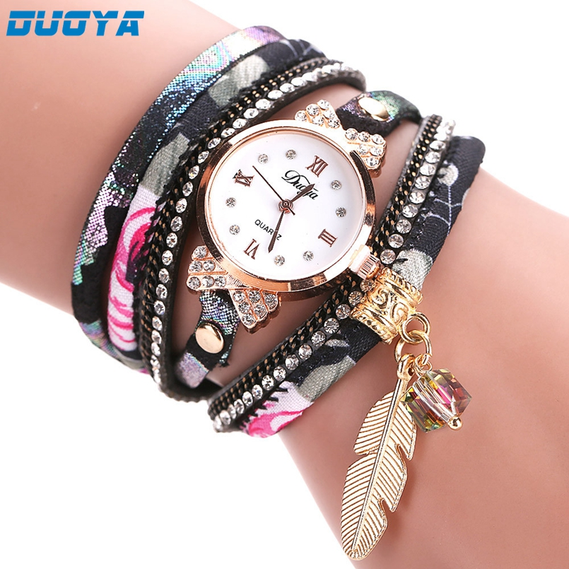 Duoya Brand Fashion Dial Quartz Watch Women Wristwatch Steel Luxury Bracelet Watch Multilayer Leather Wrist Watch Dropship #No9