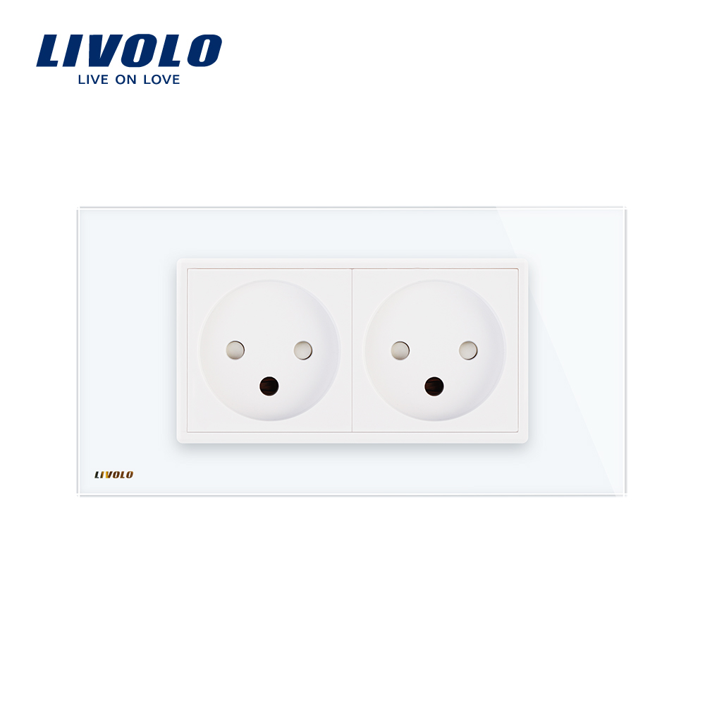 Image 3 - LIVOLO  Double Israel Power 16A Socket, Tempered White/Black Glass Panel, AC 100~250V,Siamesed Design-in Electrical Sockets from Home Improvement
