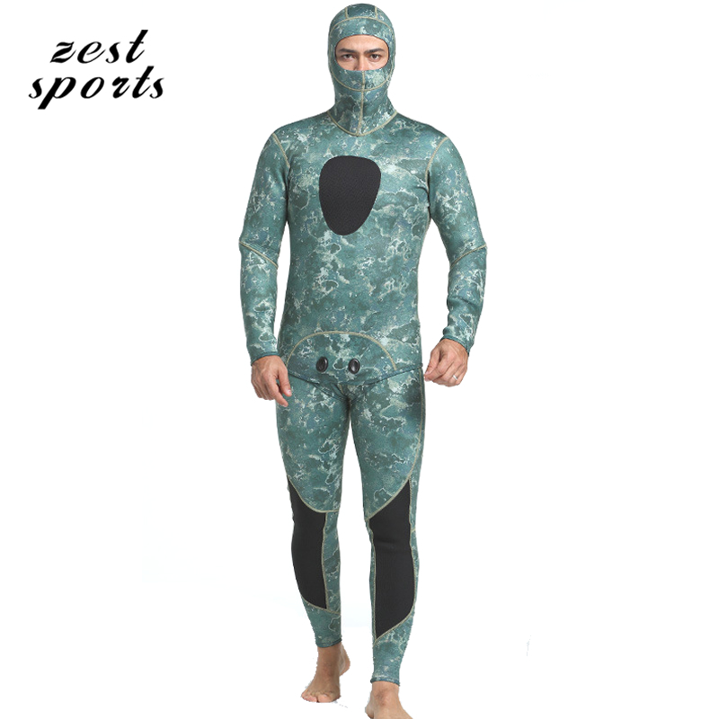 MY050, men 3mm neoprene diving suit, Split wetsuit,Fishing clothes, Siamese Vest-style + hooded jacket, Seaweed green hedging models breathable cool xihansugan fishing clothes fishing clothes male mosquito fish suit