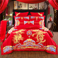 100% Cotton Luxury Red Wedding Bedding Set Golden Phoenix Dragon Embroidery Duvet Cover Bed Flag Bed Sheet Bedspread Pillowcases