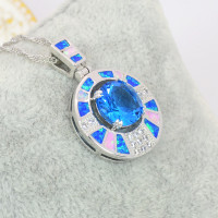 New Arrival Trendy Silver Necklace Pendants Blue Fire Opal for Ladies biggest Surprise Party Gift for Women PJ16011705 4