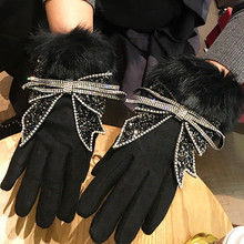 Женские теплые зимние перчатки роскошные стразы бант кроличий мех перчатки сенсорный телефон полный палец варежки женские