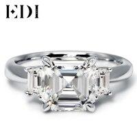 EDI Ашер огранки 3CT Муассанит Обручение кольца 10 К белого золота Лаборатории Выросли Кольцо с бриллиантом для Для женщин бренд Fine ювелирные и