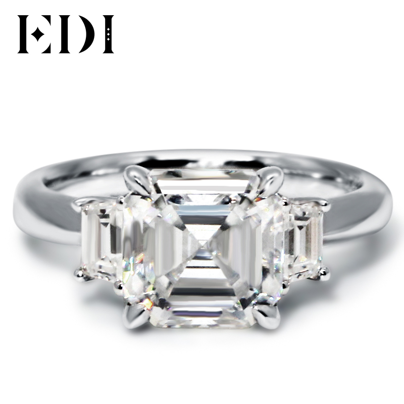 EDI Asscher Cut Brilliant 3CT Moissanite Engagement Rings 1K White Gold Lab G
