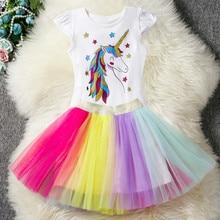 Fancy Sequined Heart Designed Unicorn Dress for Girls Party Rainbow Kids Dresses Princess Girl Easter Costume
