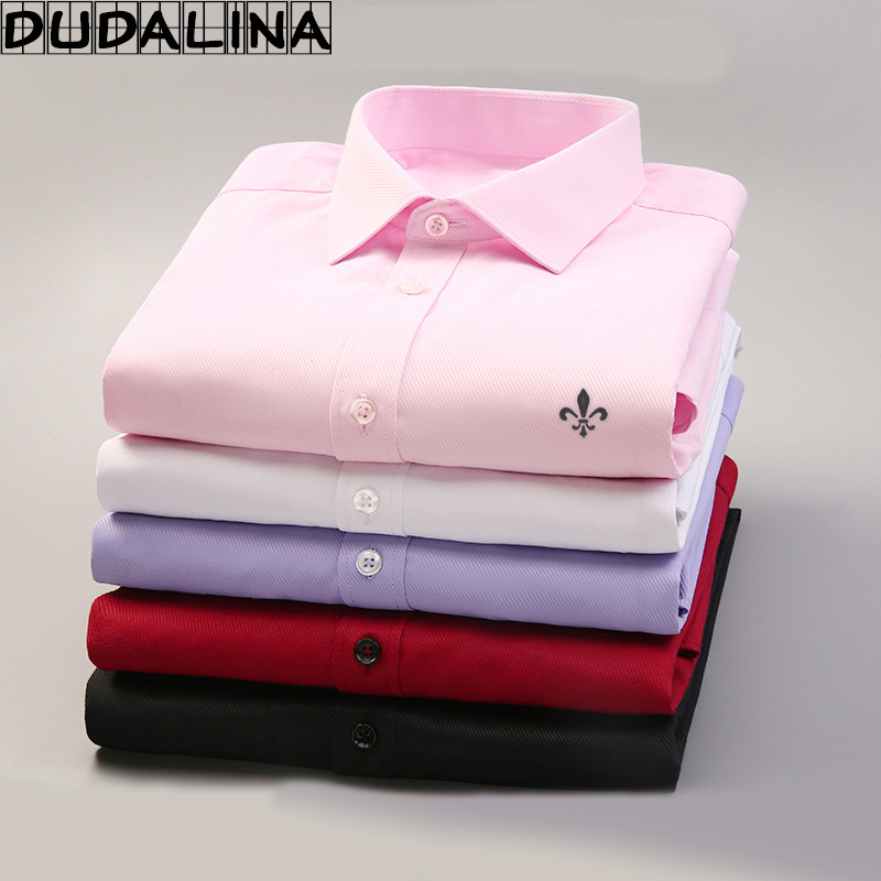DUDALINA 2017 Men Casual Long Sleeved Solid Shirt Slim Fit Male Social Business Dress Shirt Brand
