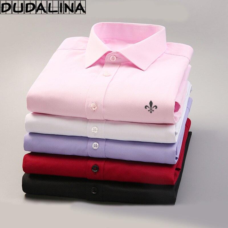Dudalina 2017 Для мужчин Повседневное Длинные рукава Однотонная рубашка Slim Fit мужской социальной платье в деловом стиле брендовые Для мужчин Костюмы мягкие удобные
